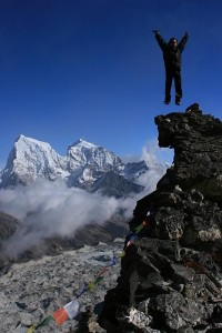 Jumping at the peak of Gokyo.